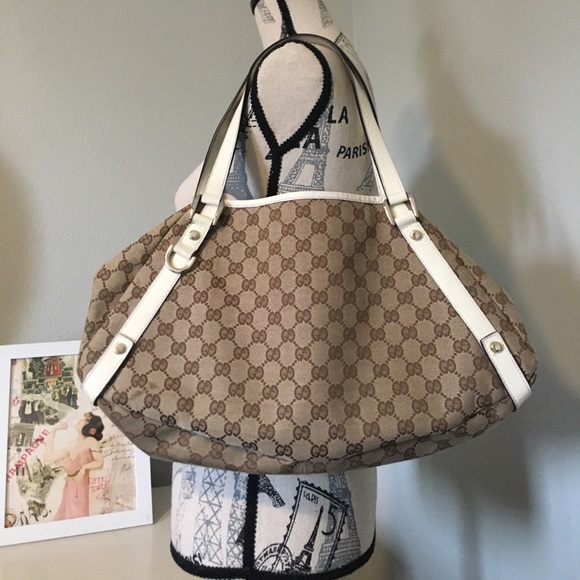 480758049cca Bags | Gucci Canvas Abbey Tote Shoulder Bag 130736 | Poshmark